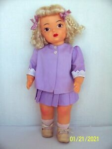 "Vintage 1950s 16"" Platinum Terri Lee doll in Tagged lavender summer suit"