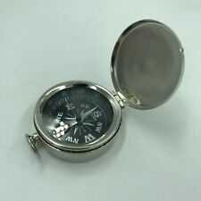 Nautical Chrome Finish Compass w/ Lid, Vintage Antique Mini Pocket Style Pendant