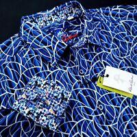ROBERT GRAHAM Geometric Paisley Print Blue Floral White Sports Shirt $199