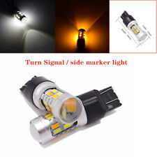 2x 20SMD LED White/Amber Turn Signal Brake Side Marker Light 50W Dual-Color Bulb