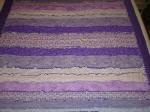 Rag Quilt Handmade Purple Strips and Flannel backed