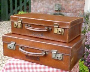 Vintage leather suitcases Shop display / Storage/ stage prop
