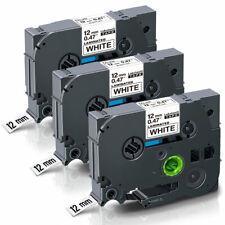 3x Schwarz auf weiß Etikettenband Schriftband für Dymo D1 45013 45018 12mm BI104