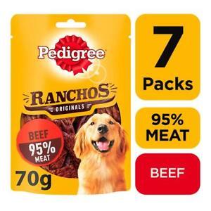 7 Pedigree Ranchos Meat Adult Dog Treats Beef Dog Chews (7 x 70g packs)