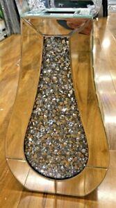 Silver Glass Crushed Diamond Crystal Filled Flower Vase Bling Sparkle