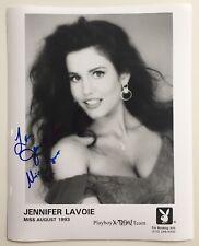 Jennifer Lavoie Playboy Miss August 1993 Autographed Black/White Headshot Pic #5