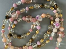Oscar De La Renta Vintage Gold With Light Pink Multi Glass Beads Necklace. 46""