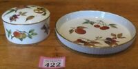 "Royal Worcester Evesham Gold 7"" Flan/Tart Dish And 4"" Lidded Pot"