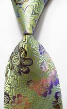 New Classic Floral Green Blue Pink JACQUARD WOVEN 100% Silk Men's Tie Necktie
