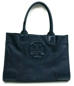 Tory Burch Navy Ella Tote Bag In Coated Canvas With Patent Accents