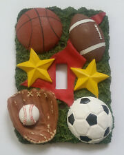 ELECTRIC SWITCH PLATE cover 3D SINGLE TOGGLE POTTERY FOOTBAL SOCCER BASEBALL ++