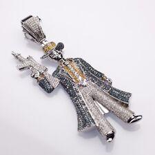 10k White Gold Color-Enhanced Diamond Encrusted Gangster Pendant Bling