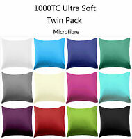 Pair of European Pillowcases / Cushion Covers 1000TC Microfibre 12 Colours