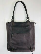 "SOLO Chambers 16"" Brown Leather Canvas Zip Bucket Laptop Bag Tote"