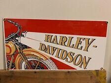 """HARLEY DAVIDSON 1929 DL VL RL MOTORCYCLE  14""""X 7.5"""" PORCELAIN HEAVY METAL SIGN"""