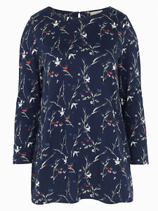EX Fat Face Navy Analee Foulard Ditsy Longline Top in Sizes 14 or 16 RRP £42