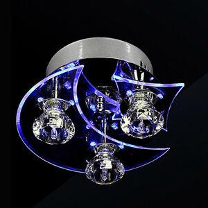 PAS Moon Star Crystal Ceiling Light Blue Lighting Bedroom Hotel Lamp