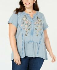 Style&Co Women's Plus Blue Fog Embroidered Peasant Top Shirt SIZE 2X