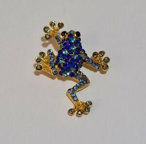 BROOCH/ Blue/ Gold Tone/ Rhinestone/ Frog Brooch