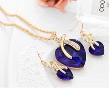 1PC Women Jewelry Set Elegant Austrian Crystal Heart Pendant Necklaces Earrings
