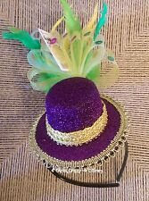 New Headband Hat Mardi Gras Purple Green Hat Feather