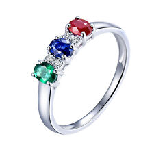 New Design Solid 14K White Gold Diamond Emerald Sapphire Ruby Engagement Ring
