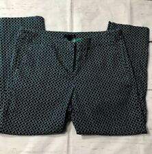 80f0fe2b08db Audrey   Celine Navy Capri Pants Green White Geometric Dots Trousers Size 10