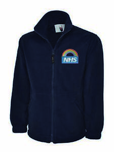 NHS Rainbow Embroidered Logo Staff Uniform Fleece Jacket. NHS Workwear Fleece.