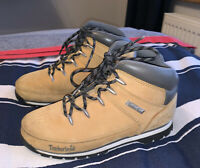 Kids Boys Timberland Nubuck Yellow Hike Walking Boots Size 3.5 Uk FREE FAST POST