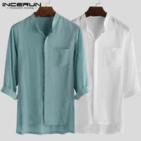 Men's Vintage Collarless Baggy T Shirt Summer Henley Tops Shirts Holiday Blouses