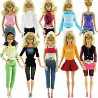 5pcs/Set Rock Hose Tops Hemd Kleider Kleid Kleidung für Puppe 30cm Mode Sup U0Y9