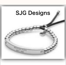 1x Beaded SILVER Plated Famous Brand Letter Inspired BRACLET With Faux Leather