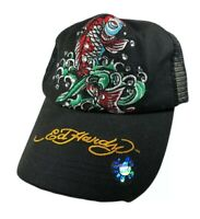 Ed Hardy Embroidered Mesh Snapback Trucker Hat Big Graphic Koi Fish New With Tag