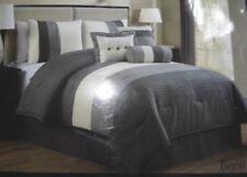 New Regatta 7 piece gray & cream / ivory queen bedding comforter set