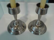 Set of Two Vintage Silver Plated Pillar Candlestick Candle Holders