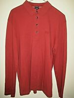 Hugo Boss Long Sleeve Scarlet Polo Shirt 100% Pima Cotton- Regular Fit Large
