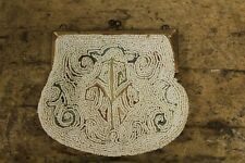 Antique Victorian Micro Beaded  White Change Purse Evening Makeup Bag