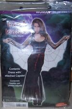 Women's Black Widow Halloween Costume Dress w/ Attached Capelet Sz M 8-10 NWT