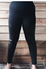 Women's Girls Leggings Size 14 Leather Look Panel High Quality
