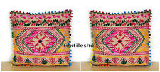 """New 16"""" Indian Jute Suzani Embroidered Ethnic Cushion Cover Decor Pillow 2 Pcs."""