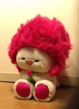 "Vintage 1982 Dakin Frou Frou 10"" Hot Pink Hair White Plush Stuffed Animal Toy"