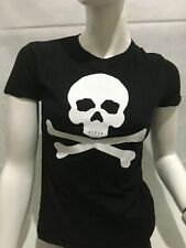 T-shirt da donna con stampa Teschio Bianco maglietta Nera maglia Skull TG M new
