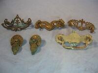 Lot of 6 Various Antique Brass Drawer Pulls Handles