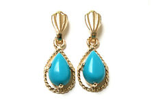 9ct Gold Turquoise Teardrop Dangly Earrings Gift Boxed Made in UK