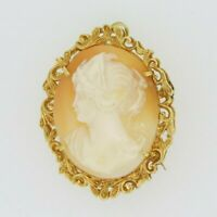 9ct Gold Brooch - 9ct Yellow Gold Shell Cameo Lady Brooch