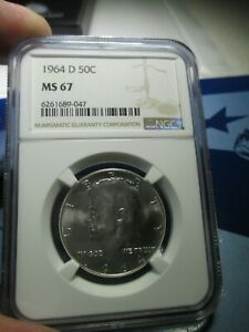 1964 D P NGC ERROR LABEL KENNEDY HALF DOLLAR MS 67 - MINT STATE CERTIFIED COIN