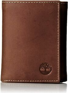 Timberland Men's Hunter Trifold Leather Wallet Brown