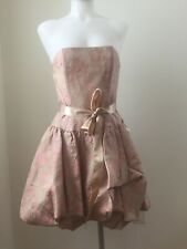 JESSICA MCCLINTOCK Pink Floral Metallic Tube Bubble Dress Sz 8 Ret $300
