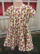 Girls Short-Sleeved Dress, Brown, Paisley, 2-3 years, New, Handmade
