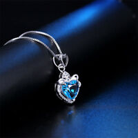 Choker Gift Jewelry For Women Pendant Crystal Necklace Heart-shaped Blue